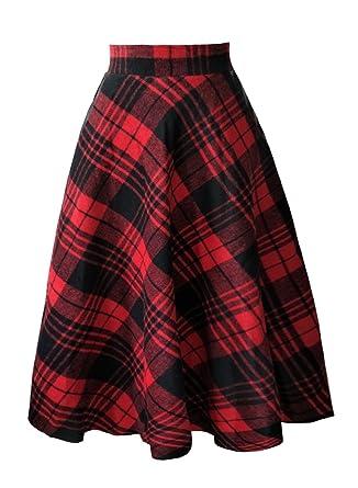 1b624d465702 emondora Women's Plaid A-line Swing Wool Maxi Skirt High Waist Vintage  Tartan Skirts Red