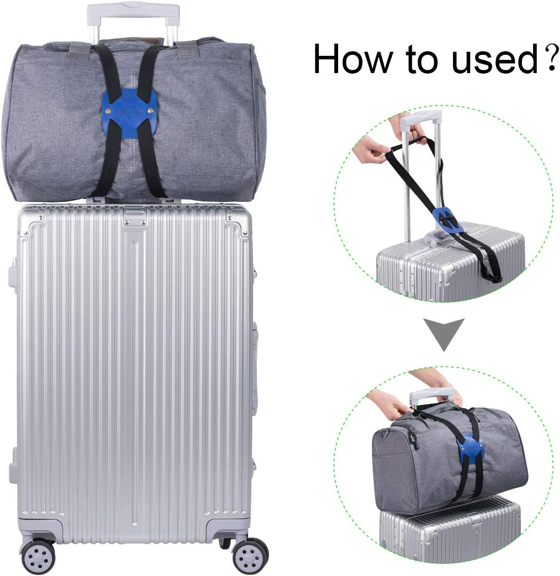 1-pack,Black Bag Bungee Luggage Bungee An Adjustable and Portable Travel Suitcase Accessory Luggage Straps Suitcase Adjustable Belt