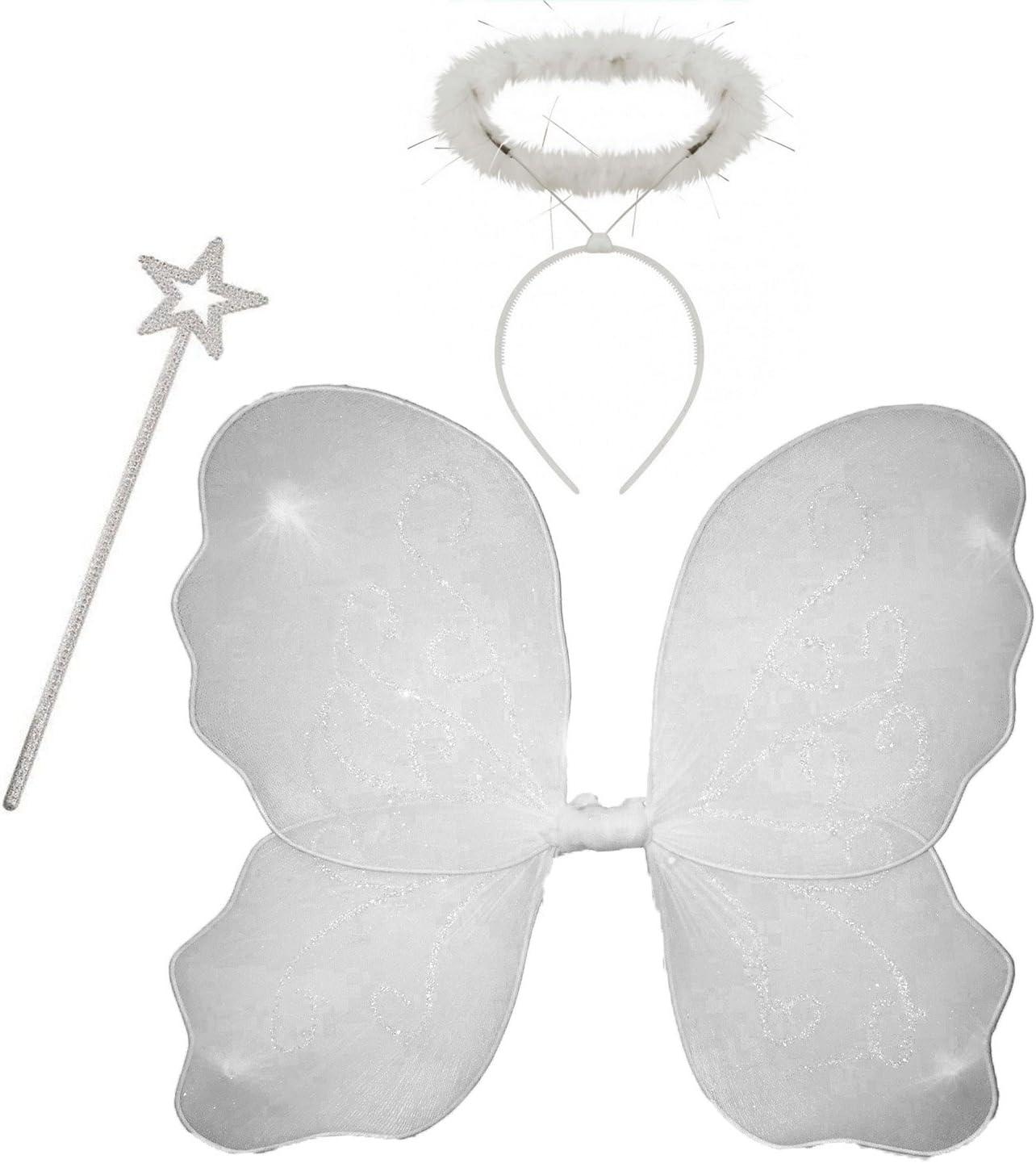 REDSTAR White Angel Fairy Wings Halo Fancy Dress Costume Kids Children Christmas