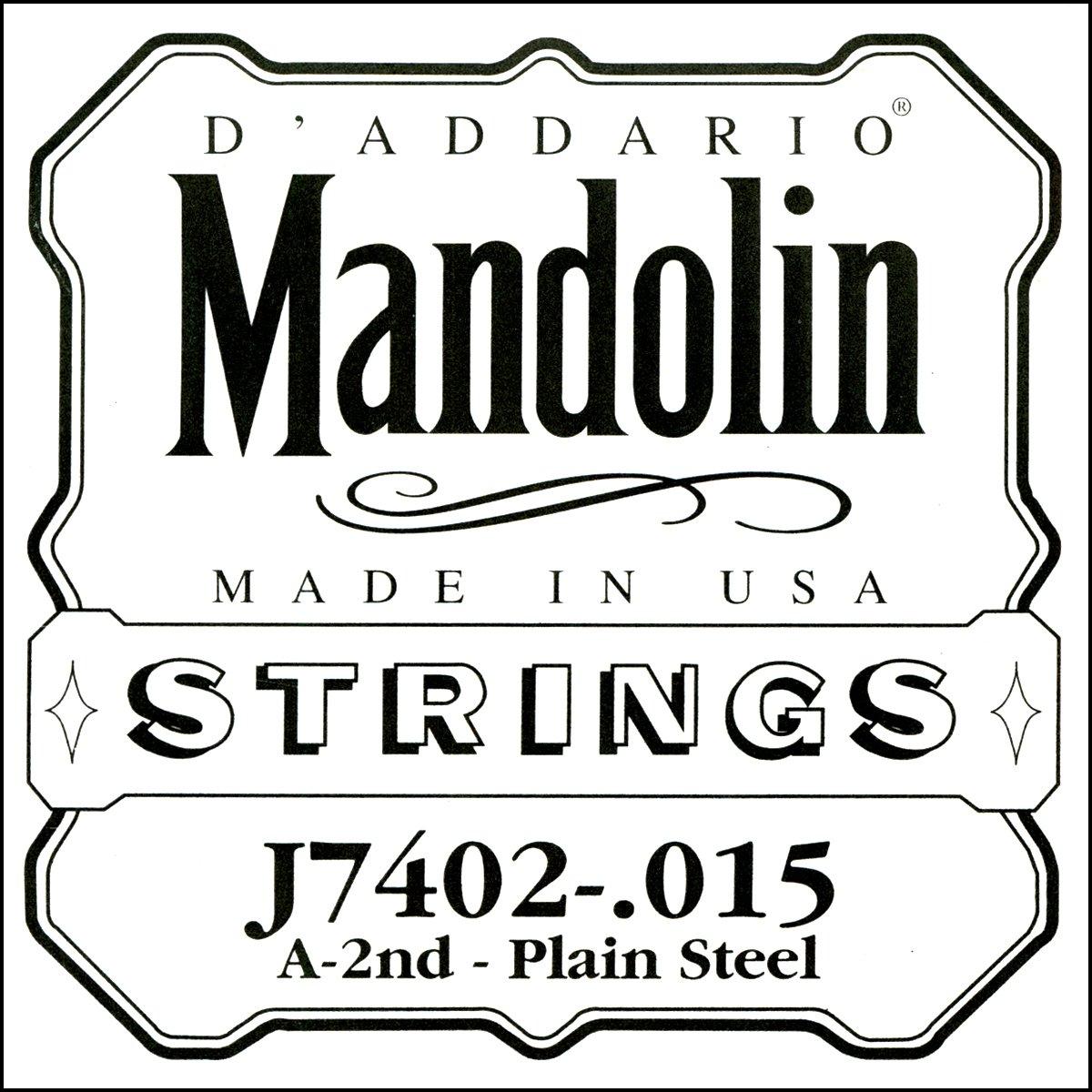 D'Addario J7402 Plain Steel Mandolin Single String, Second String, .015 D' Addario