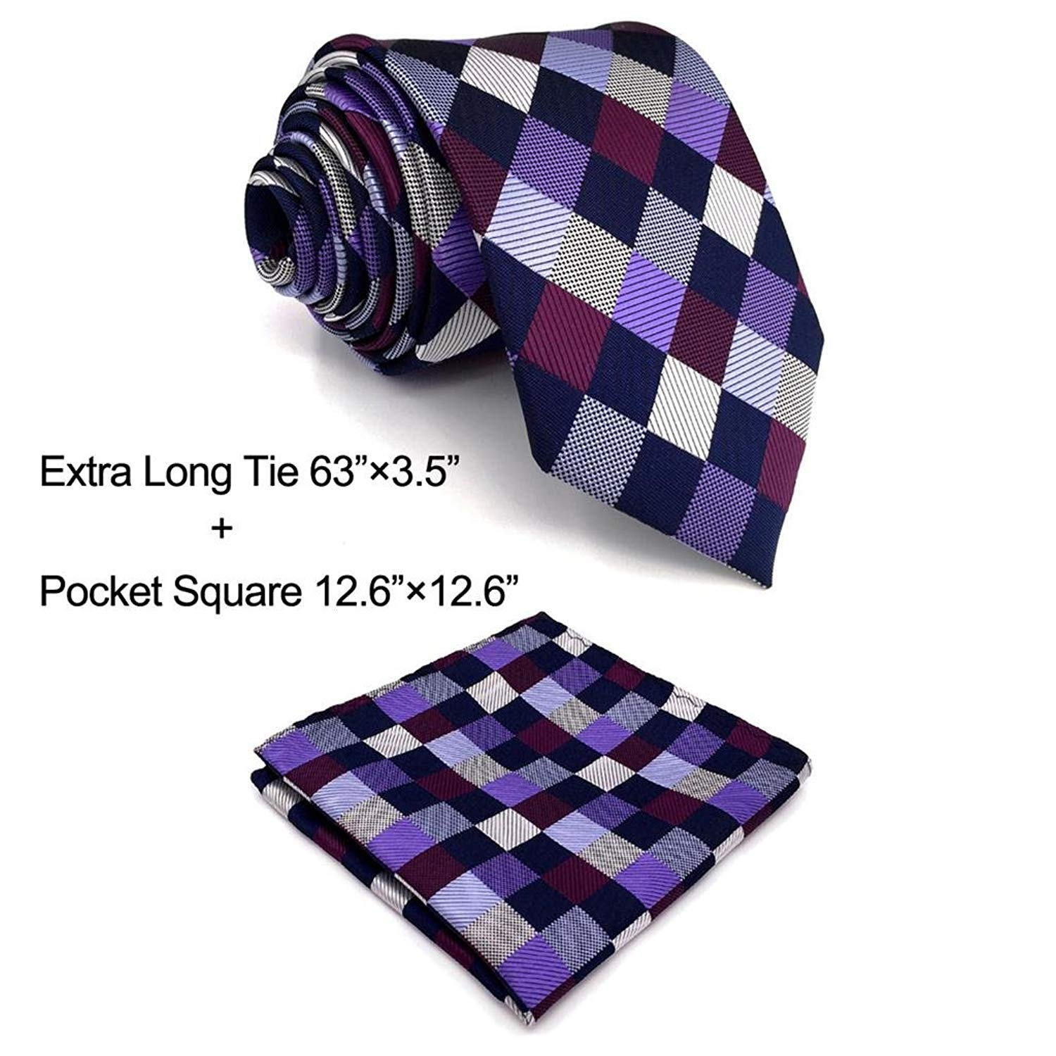 Shlax& Wing Mens Neckties Multicolored Checkered Ties For Men Wedding Shlax & Wing B2-H