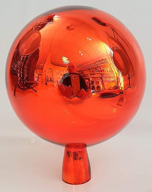 Bola esfera de jardín de cristal coloreado bola de jardin de colour naranja con efecto especho soffiato a boca Diametro 15 cm altura 18 cm decoracion para jardin Oberstdorfer Glashütte: Amazon.es: Hogar