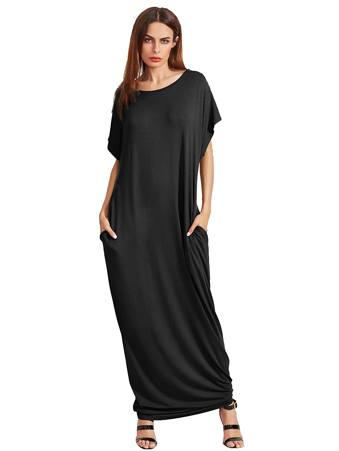 1 Black Verdusa Women's Casual Short Sleeve Loose Pocket Plain Shift Long Maxi Dress