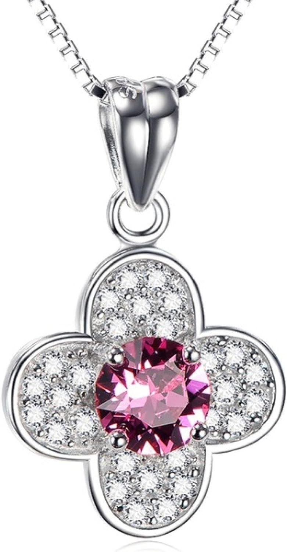 CS-DB Pendants Flower Shape Pink Crystal Zircon Silver Necklaces