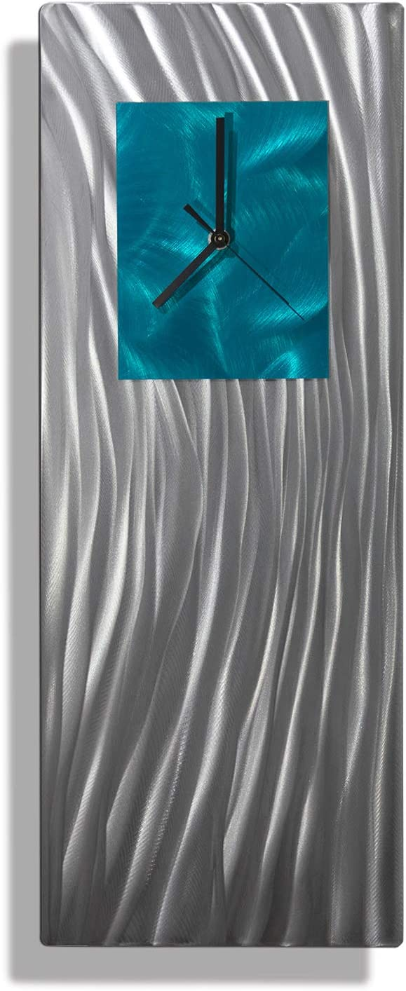 Statements2000 Unique Hand Crafted Abstract Silver And Teal Metal Wall Clock Modern Contemporary Functional Home Decor Art Sculpture Ocean Energy By Jon Allen 24 Inch Home Kitchen