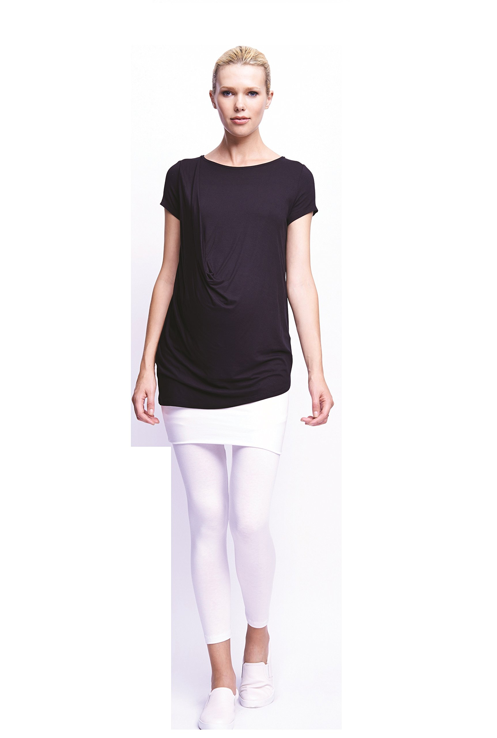 Maternal America Women's Maternity Shoulder Pleat Tee, Black, Medium