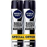 NIVEA, MEN, Deodorant, Invisible Black & White, Original, Spray, 2 x 150ml
