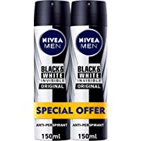 NIVEA, MEN, Deodorant, Invisible Black & White, Original, Spray, 2 x 150ml