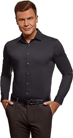 oodji Ultra Hombre Camisa Básica Extra Slim de Manga Larga: Amazon.es: Ropa y accesorios