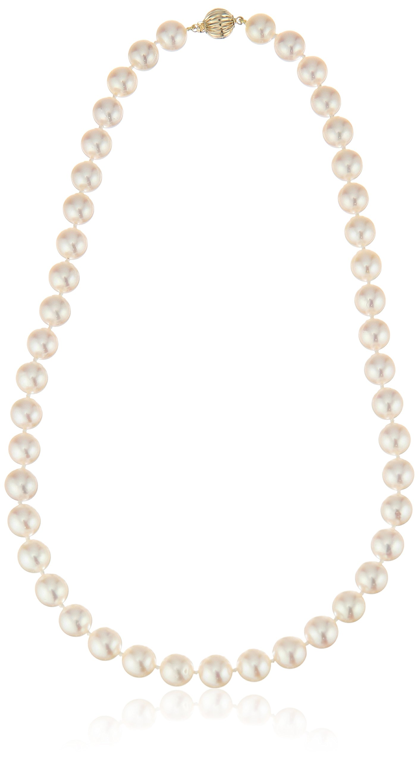 14k Yellow Gold 9-9.5mm AAAA Handpicked White Japanese Akoya Cultured Pearl Strand, 18''