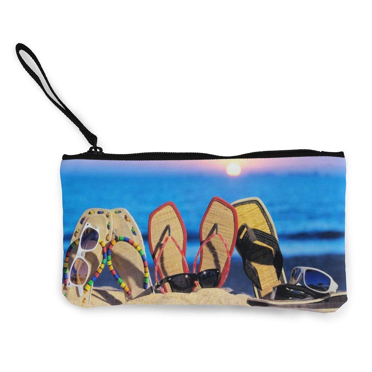 Coin Pouch Sun Sand Flip Flops Canvas Coin Purse Cellphone Card Bag With Handle And Zipper