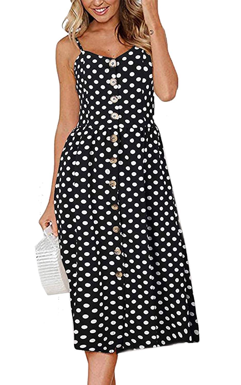 77de72ec86 Angashion Women s Dresses-Summer Floral Bohemian Spaghetti Strap Button  Down Swing Midi Dress with Pockets at Amazon Women s Clothing store