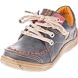 TMA Eyes 1646 Zapatos de piel para mujer piel, color negro, verde, azul, rojo y blanco, dise?o desgastado, color negro, talla 36 EU