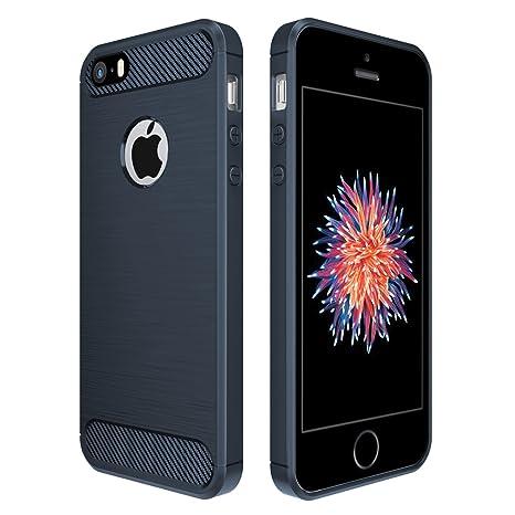 Simpeak Compatible para iPhone SE/5S/5 Funda, Funda Apple iPhone 5S/SE/5c/5 Carcasas para iPhone 5S/5 Funda Cases Suave TPU Anti Deslizamiento, Azul