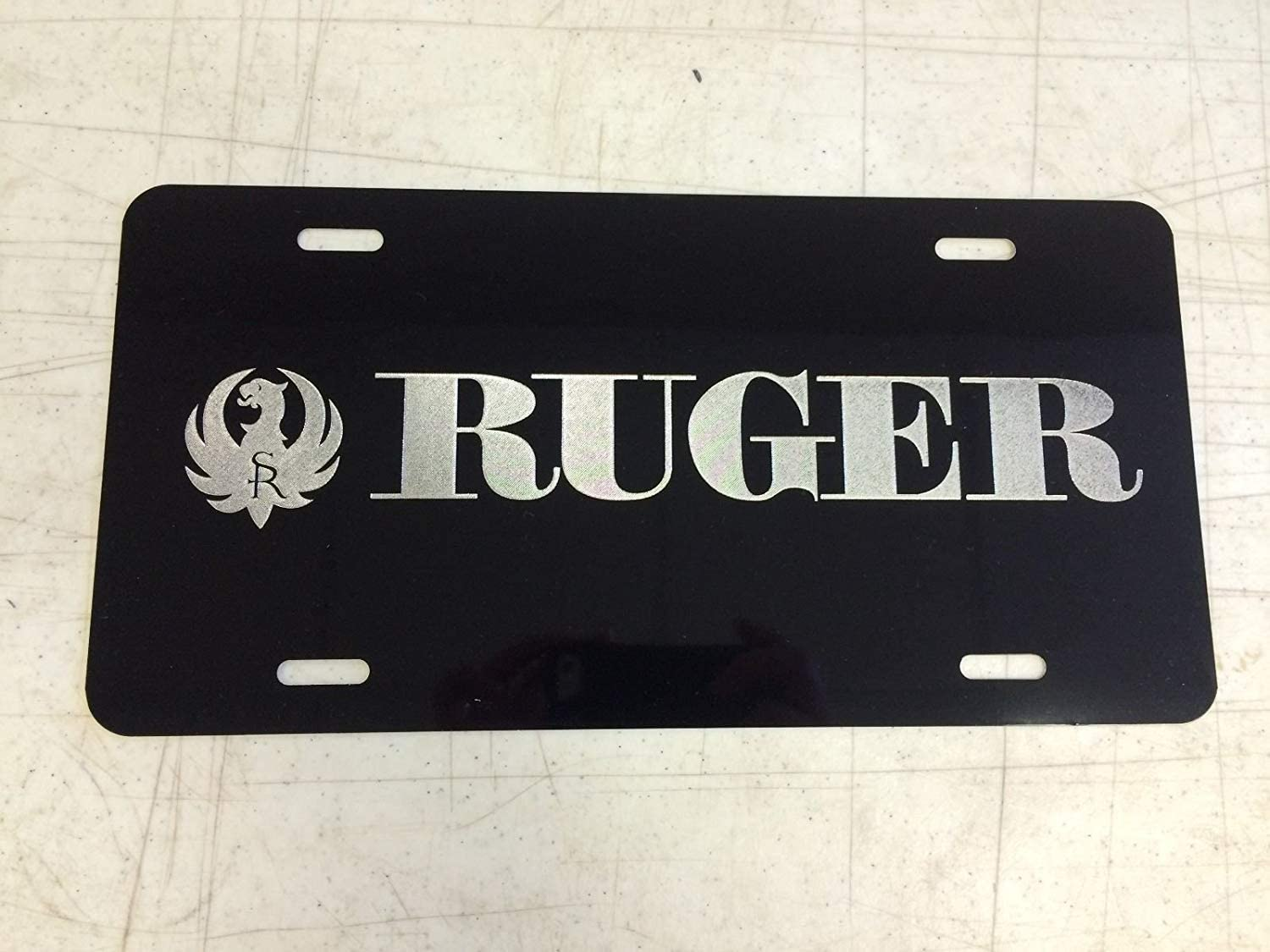 RNUAB Ruger Car Tag on Stainless Steel License Plate Frame Metal 12 X 6 Inch