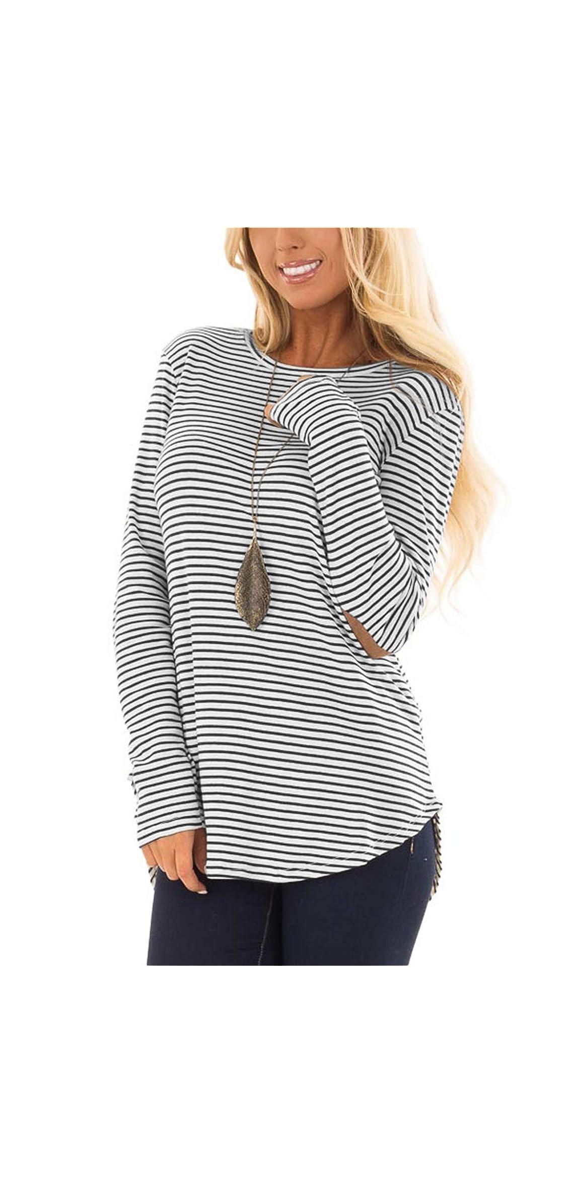 Womens Long Sleeve T Shirts Striped Crew Neck Tee