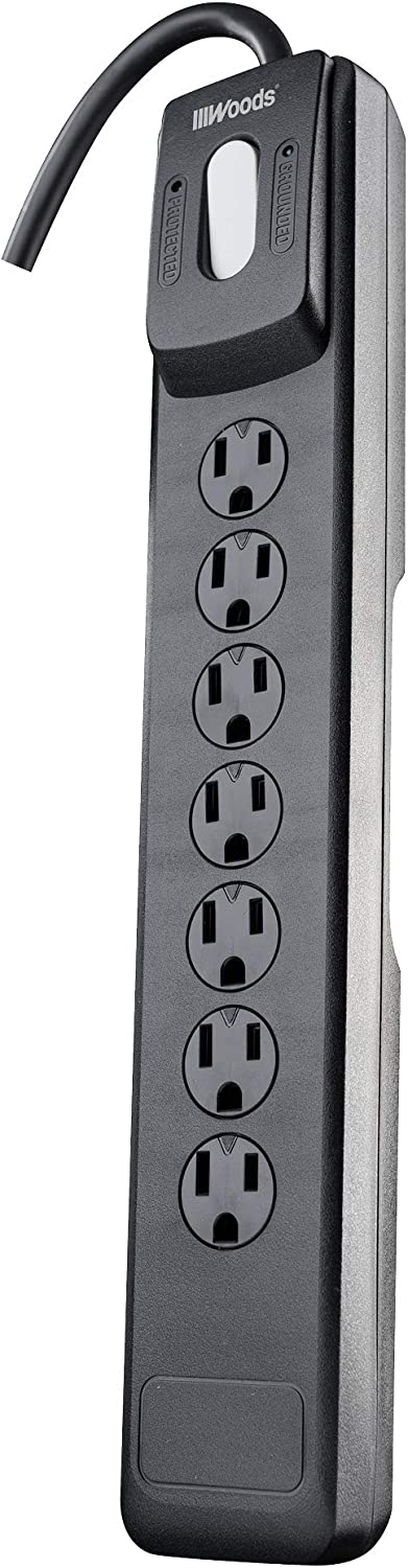 Woods 41496 Surge Protector With Safety Overload Feature 7 Outlets And 10 Ft Cord For 1440J Of Protection, Black