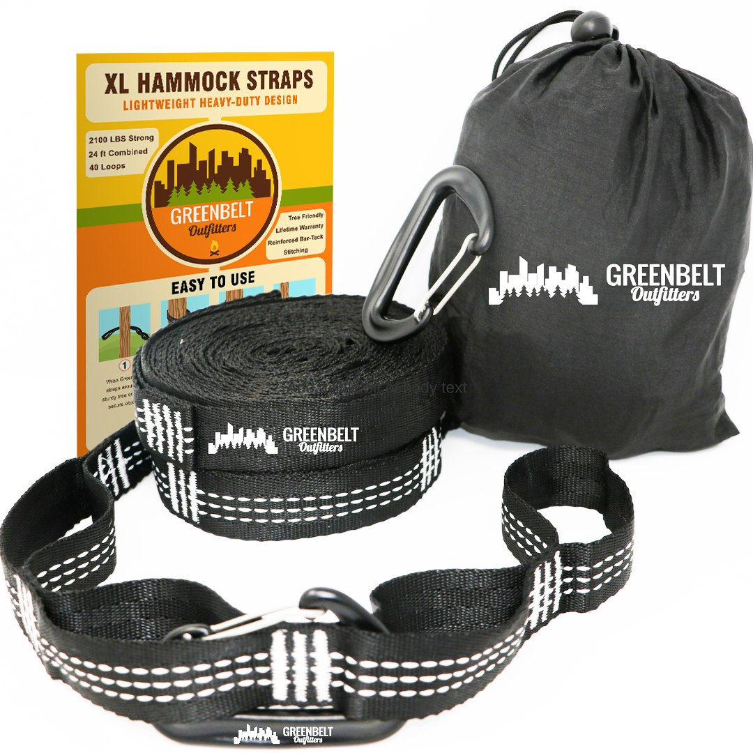 Hammock Straps XL | Hammock Tree Straps 24 ft Lightweight | Reinforced 2100+ LBS Heavy-Duty | Bonus 2 Snag Proof Aluminum Wire Gate Carabiners | 40 Loops of 100% No Stretch Camping Hammock Accessories by Greenbelt Outfitters