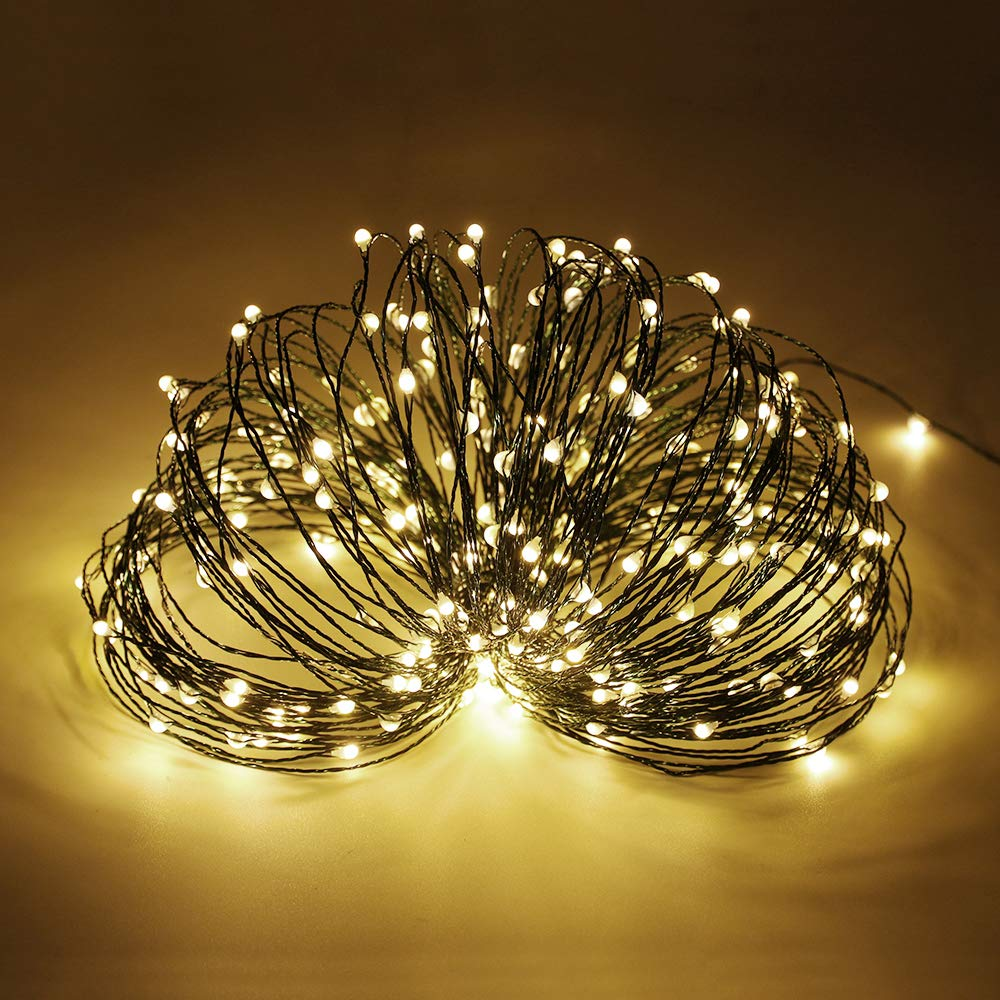 TM 165ft Led String Lights,500 Led Starry Lights on 50M Green Copper Wire String Lights Power Adapter + Remote Control Warm White ER CHEN