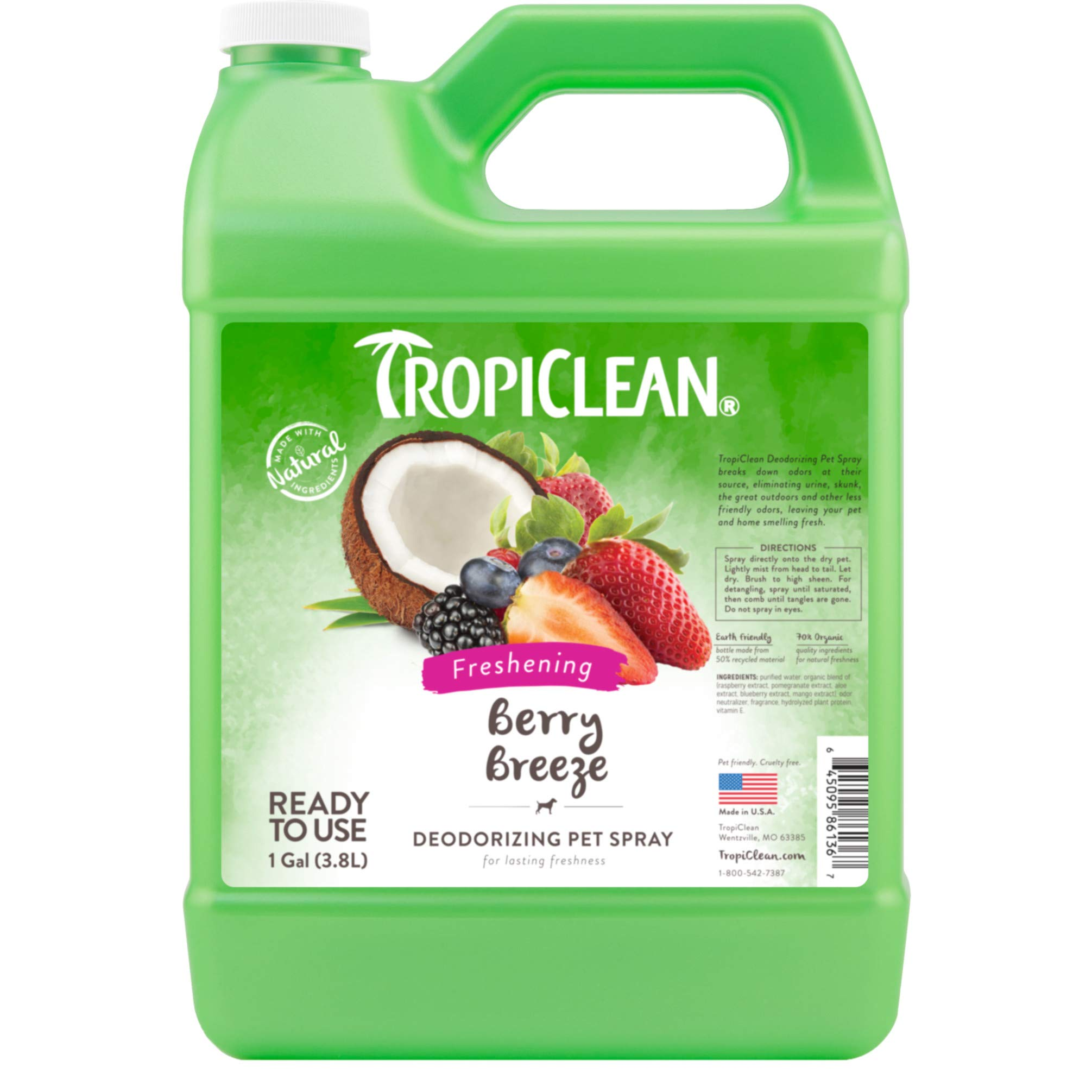 TropiClean Berry Breeze Deodorizing Spray for Pets, 1 gal, Made in USA by TropiClean