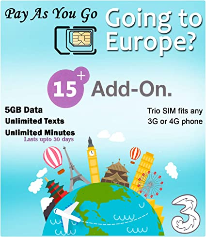 3000 Texts Valid for 30 Days - Free Roaming in European Countries 3000 Minutes Greece SIM Card UK Three travSIM Three UK Prepaid SIM Card for Greece with 12GB 3G 4G LTE Mobile Data
