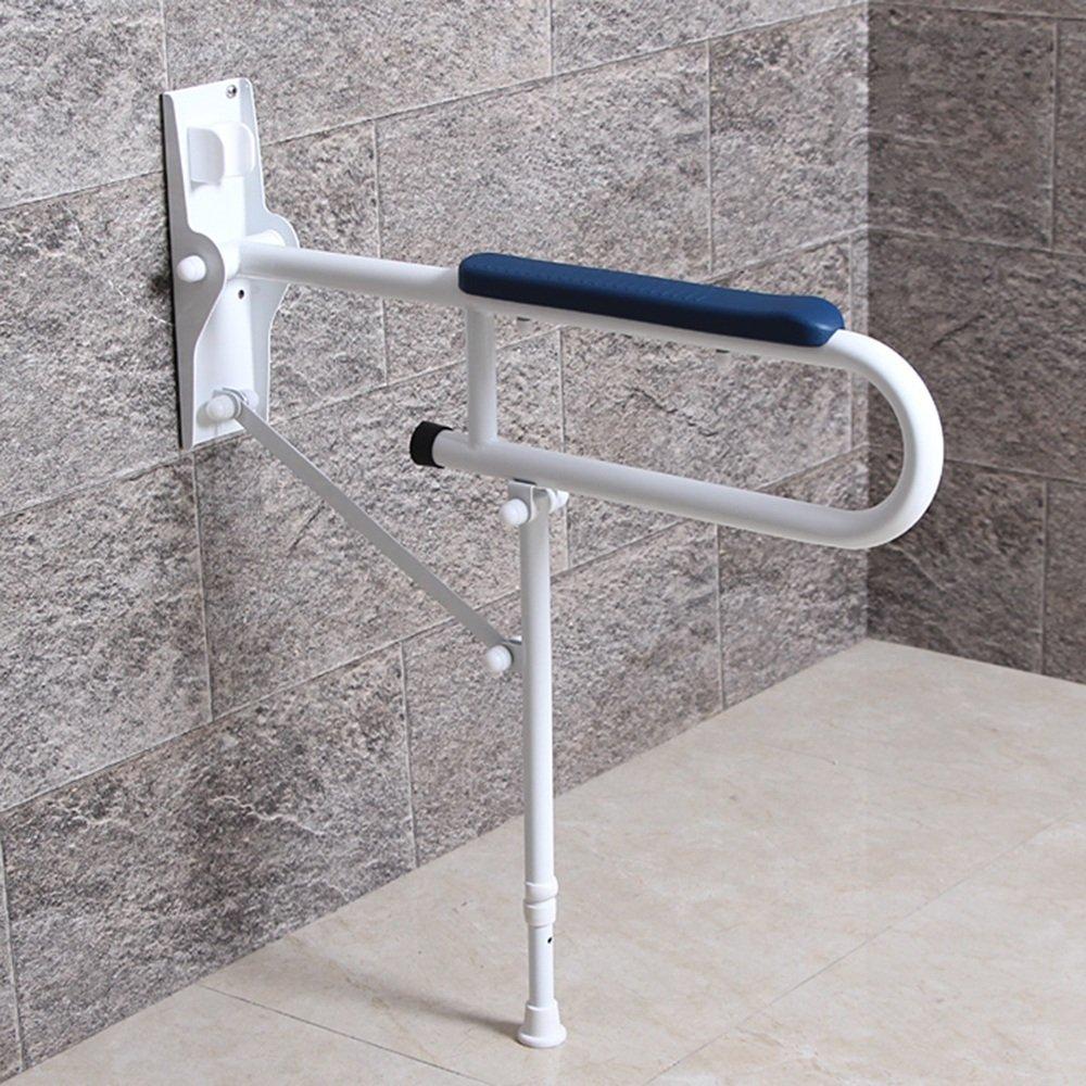 QFFL fushou バスルーム手すり/折りたたみ式調節可能/ステンレススチールフロアスタンドグラブレール/トイレシャワーグラブバー/高齢者ノンスリップU字型セーフティアームレスト(2色展開可能) (色 : 青)  青 B07GZKBG5C