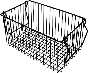 "NIRMAN Rustic Storage Basket with Handles, Modern Farmhouse Décor Wire Basket Stand Organizing Bathroom, Pantry, Home (10.5"" L X 6.5"" W X 5.25"" H)"