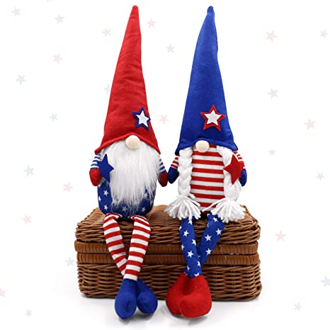 A, 3PC Household OrnamentsTray Decor Patriotic Gnome Plush American President Election Decoration Tomte Veterans Day Standing Figurine for 4th of July Gift 3 Pack 4th of July Decorations
