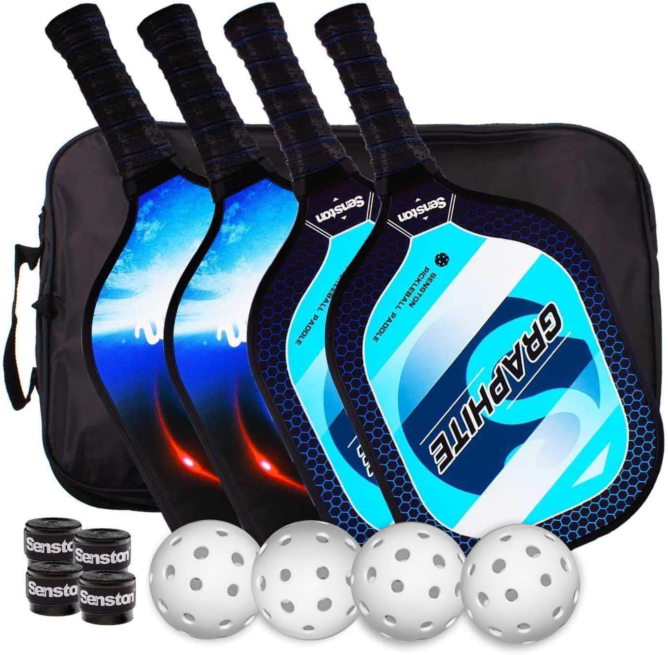 Professional Pickleball Set 2-Player Carbon Fiber Paddle Racquets 4 Ball