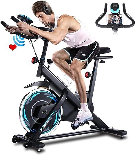 Profun Bicicleta Estática de Spinning Profesional,Bicicleta Fitness de Gimnasio Ejercicio con Volante de Inercia 18 kg, Ajustable Resistencia, ...