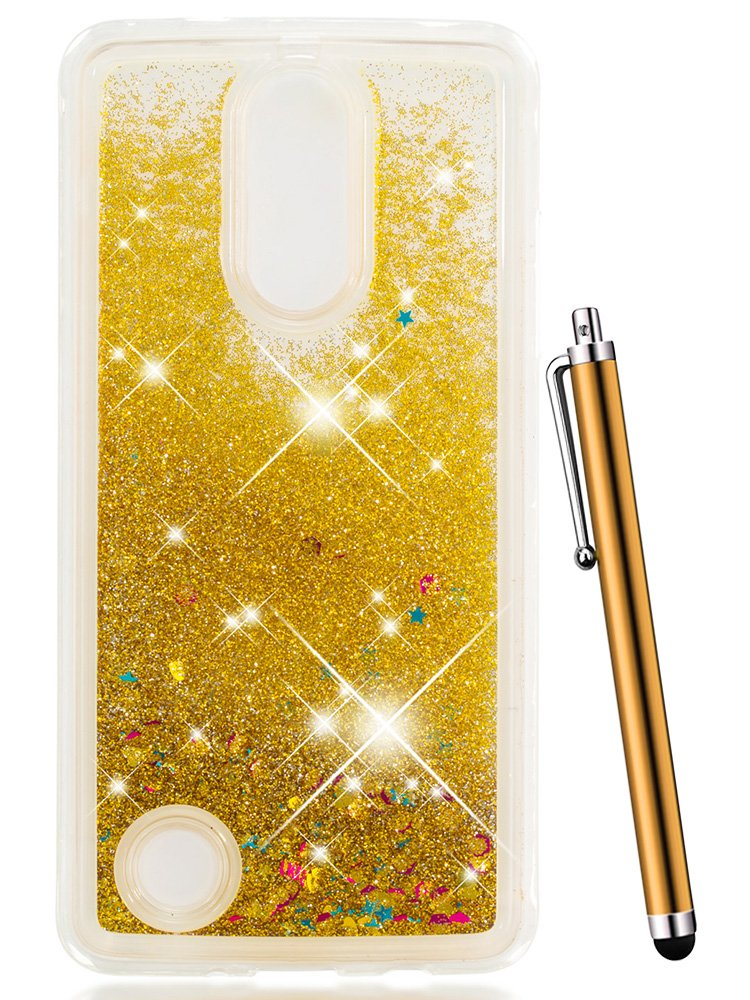 for LG Fortune Case,LG Aristo Case, LG Phoenix 3 Case, LG K8 2017 Case,LG LV3 Case,CAIYUNL Liquid Glitter Sparkle Floating Clear TPU Slim Thin Cute Protective Shockproof Cover Men Girls Women -Gold