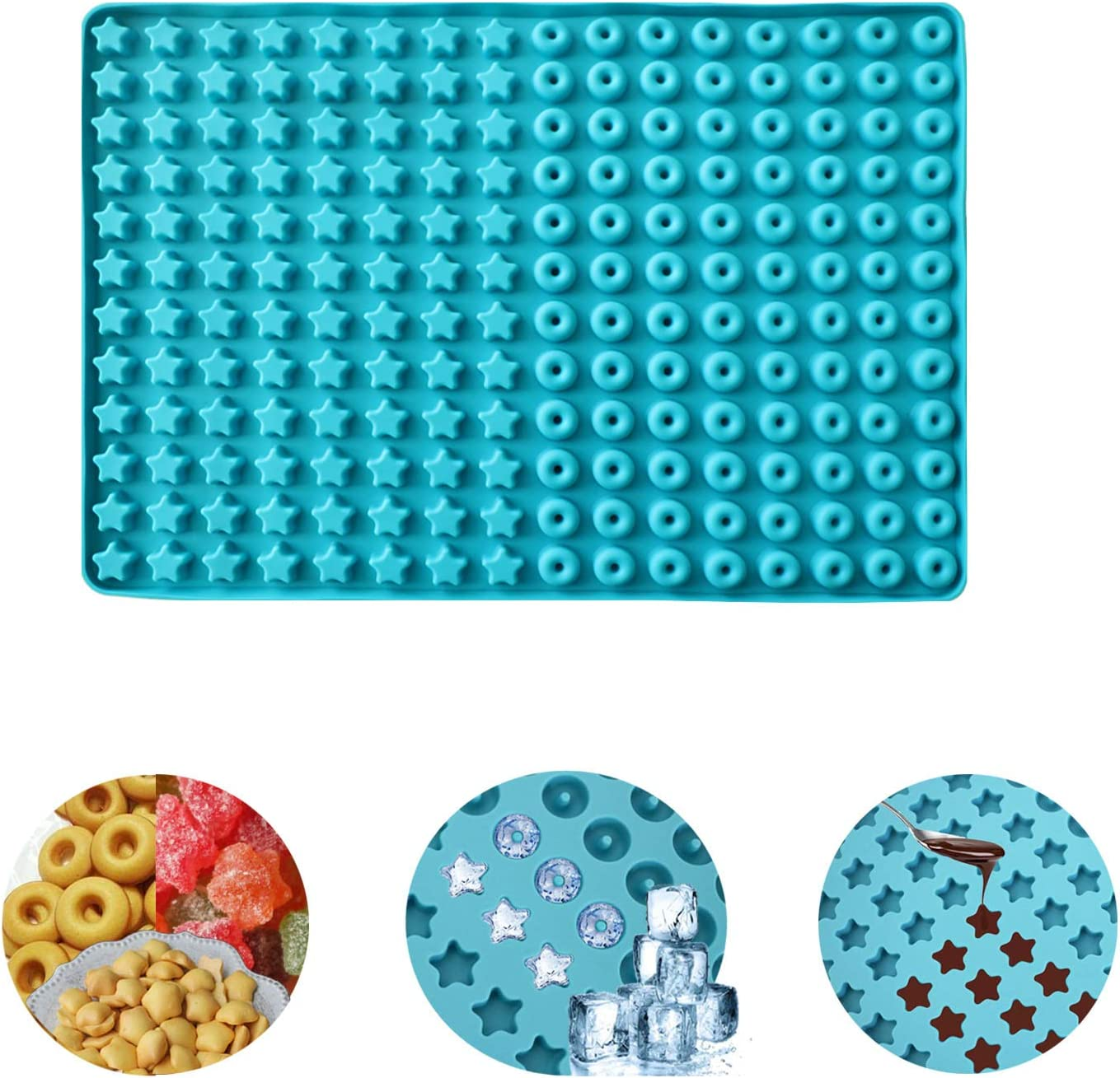 192 Cavity Pet Treats Pan Dog Mini Donuts Star Shaped Silicone Mold, Chocolate Gummy Molds with Nonstick Food Grade Silicone, Silicone Baking Mat Cooking Sheets.