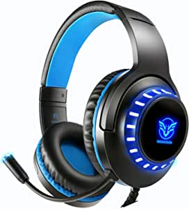 OBEST H11 Gaming Headset Wired Headphone 3.5mm Surround Sound with Volume Control Microphone for PC,Xbox One,Laptop,Tablet,iPhone,Samsung Smartphone (H11-Blue) H11-blue