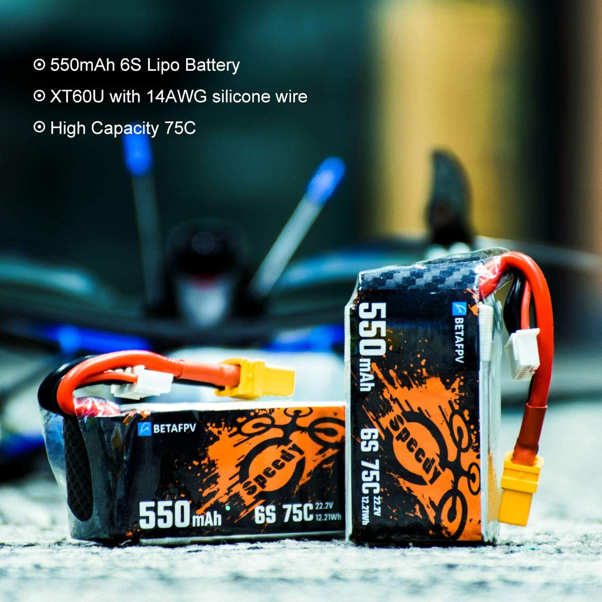 BETAFPV 2pcs 550mAh 6S Lipo Battery 75C 22.2V with XT60U Plug 14AWG Silicone Wire for FPV Racing Quadcopter Toothpick Drone