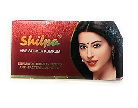 402401ca4fe Shilpa Bindi Vive Sticker Kumkum (Pack of 3 strips) (8, DEEPRED ...