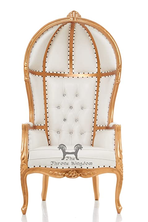 Beautiful 65u0026quot; Tall Carved Hooded Canopy Throne Chair   White Vinyl /  Gold Leaf Finish