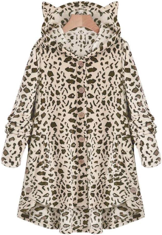Kapuzenpullover Damen Flauschigen Mantel Lose Hoodie Sweatshirt Einfarbig Winter Katzenohr Hut Hoodie Knopf Wolle Mantel Sportswear LeopardLight