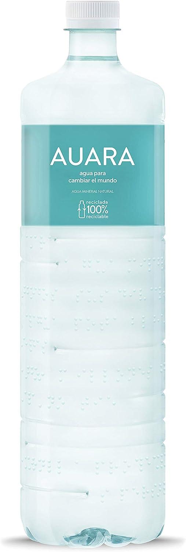 AUARA agua mineral natural sin gas 100% material reciclado r-PET - Pack 6 botellas 1501 ml