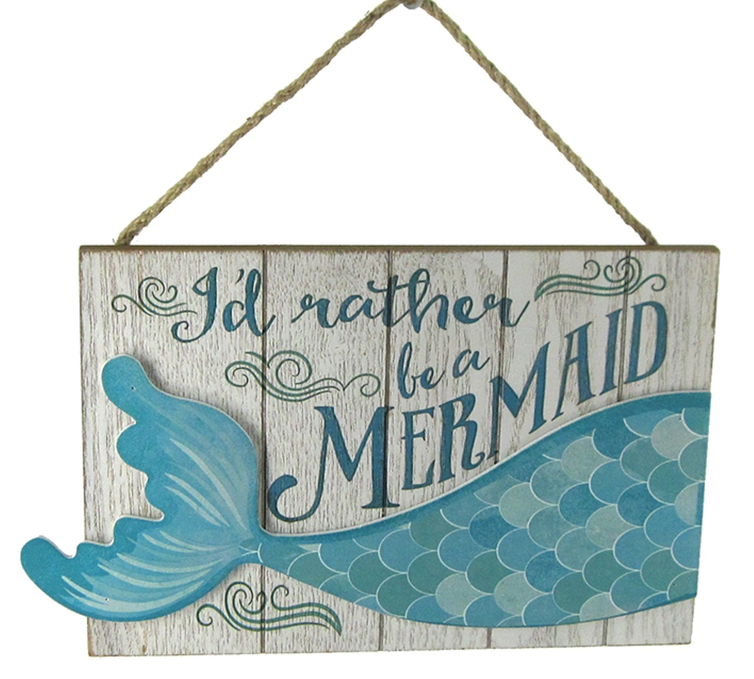 Chesapeake Bay Id Rather Be A Mermaid Dimensional Tail Wall Plaque Blue and White 10.25 Inches