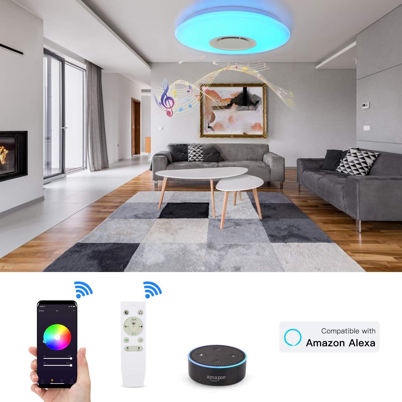 Deckenleuchte mit Alexa Smart WiFi Deckenlampe, mit Fernbedienung Dimmbar  Farbwechsel, Sternenhimmel Deckenlampe mit Bluetooth-Lautsprecher,