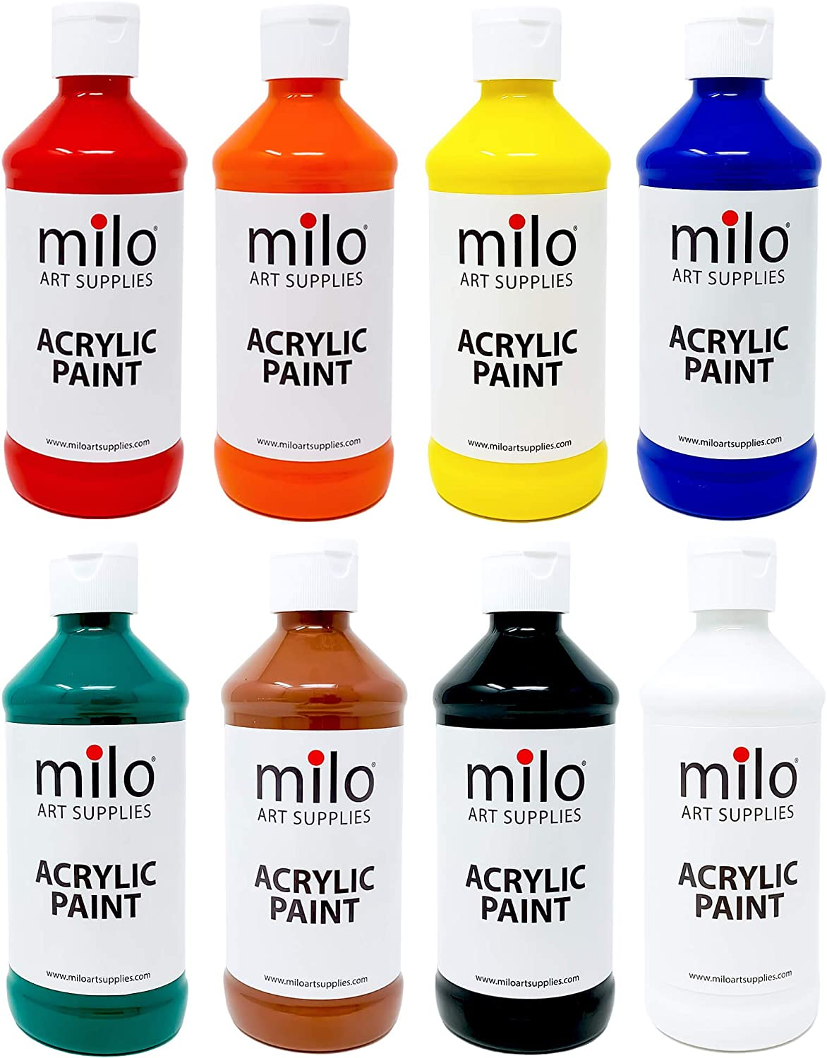 milo Acrylic Paint Set of 8 Colors | 8 oz Bottles | Student Fluid Acrylics Painting Set | Made in the USA