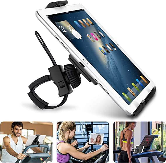 """Abovetek Universal Handlebar Mount for iPad – iPhone - Tablet – Anti-Shock 360 Degree 3.5"""" to 12"""" Expandable Pole Strap Phone Holder Cradle for Indoor Cycling, Gym, Treadmill, Spin Bike, Ellip..."""