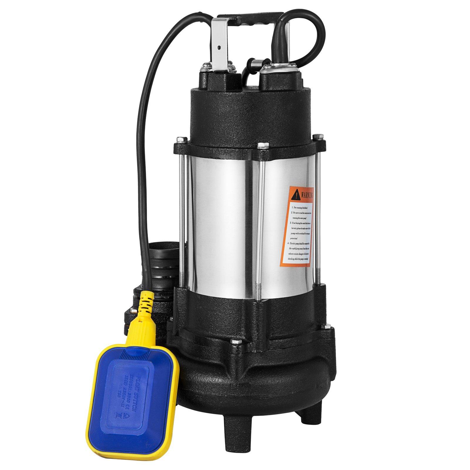 Happybuy Submersible Sewage Pump VD-550F 3/4 HP Sewage Pump Heavy Duty Deep Well Water Pump 5600 GPH Dirty Clean Water Pump