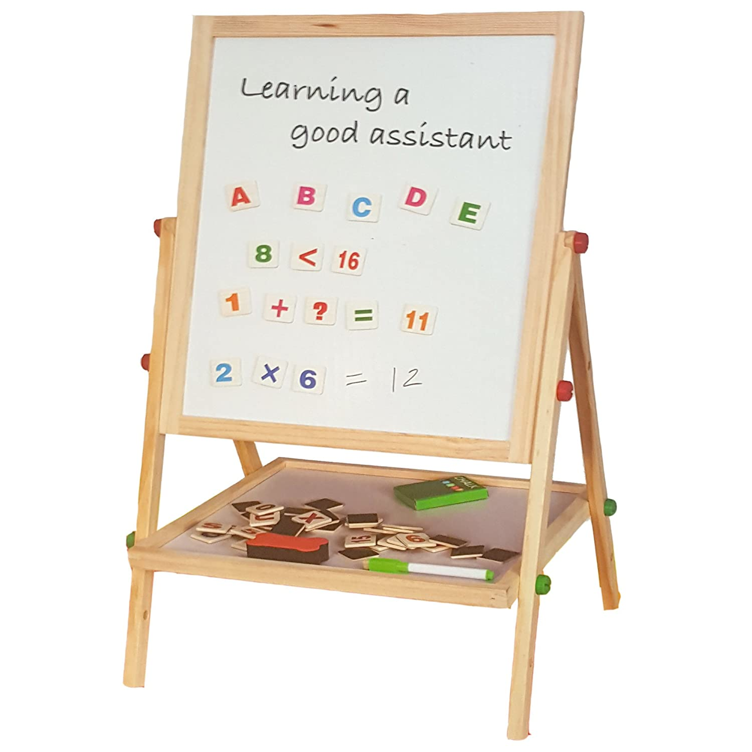 Lado Childrens Black Board & Magnetic White Board Double Sided Wooden Easel (100cm) REVOLVING BOARD FREE 54 MAGNECTIC ALPHABETS & NUMBERS & SYMBOLS