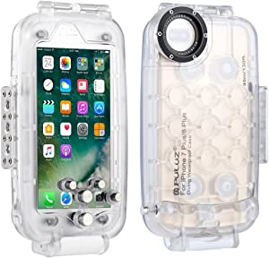 Joint Victory 40m/130ft Waterproof Diving Housing Phone Case Taking Photo Video Underwater Cover (for iPhone 8 Plus&7 Plus-Transparent)