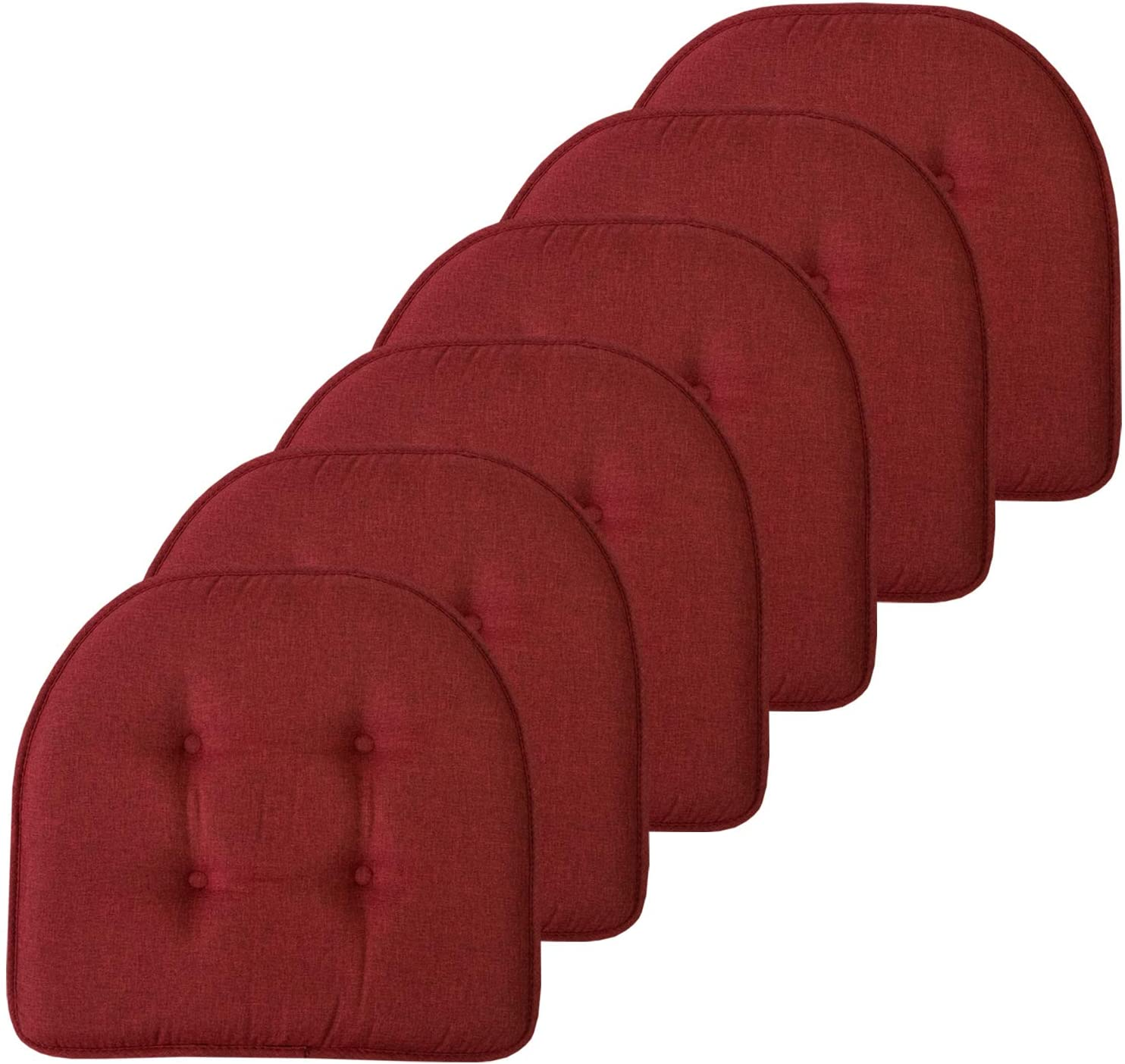 """Sweet Home Collection Chair Cushion Memory Foam Pads Tufted Slip Non Skid Rubber Back U-Shaped 17"""" x 16"""" Seat Cover, 6 Pack, Wine Burgundy"""
