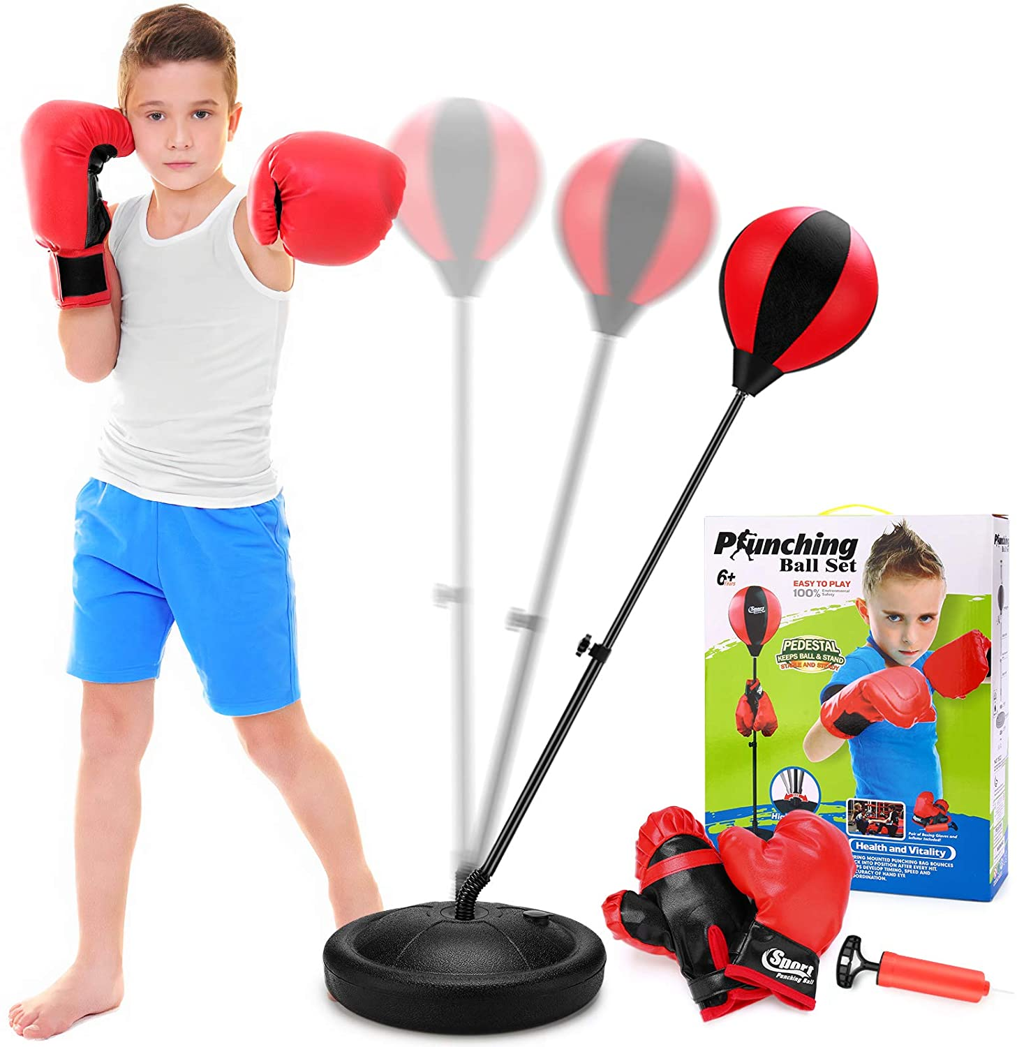 Punching Bag for Kids with Boxing Glove - Sport Boxing Sets with Adjustable Height Stand, Great Exercise & Fun Activity for Kids, Top Gifting Idea, Boxing Sport Toys for 3-7 Years Old Boys & Girls