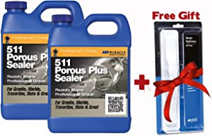 Miracle Sealants 511 Porous Plus Penetrating Sealer 64 Oz. Penetrating Sealer (2 Quarts) + Free Mira Brush Applicator and Tray