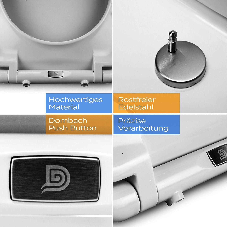 Dombach Senzano Toilettendeckel wei/ß D-Form /• der innovative Premium WC-Sitz mit Absenkautomatik//Softclose abnehmbar Toilettensitz antibakteriell aus Duroplast Klobrille