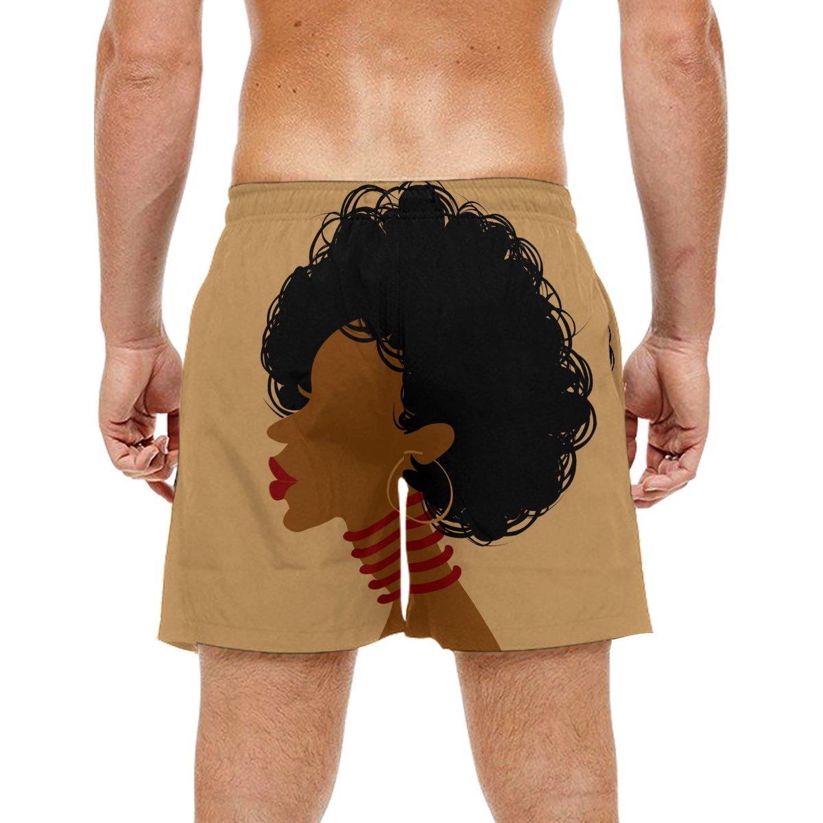 KEAKIA Mens African Woman Beach Board Shorts Quick Dry Swim Trunk